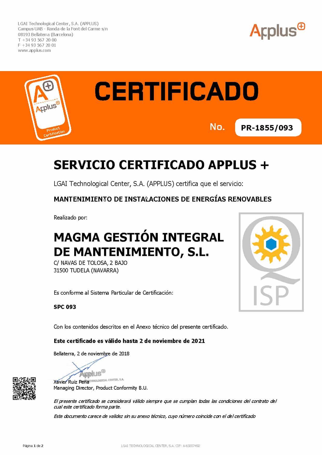 Sello AEMER fotovoltaico Magma